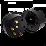 Разъем РШ-ВШ 32А 380В 3P+PEкарболитовый черный EKF Simple AS-380-O-04 ЭКФ