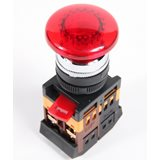 Кнопка AELA22 'Грибок' красный d22мм неон 240В 1з+1р