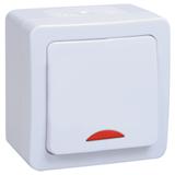 Выключатель 1-клавишный Гермес Plus 10А 250В IP54 белый, с подсветкой EVMP11-K01-10-54-EC IEK