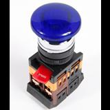 Кнопка AELA22 'Грибок' синий d22мм неон/240В 1з+1р