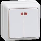 Выключатель 2кл с инд. 10А ОКТАВА (белый)