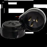 Разъем РШ-ВШ 32А 250В 2P+PEкарболитовый черный EKF Simple AS-250-O-03 ЭКФ