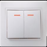 Выключатель 2-х клавишный Кварта 10А 250В IP20 белый, с подсветкой
