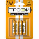 Элемент питания AAA солевая Трофи R03-4BL (4 штуки в упаковке)