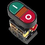 Кнопка APBB-22N I-0 d22мм неон 240В 1з+1р