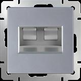Розетка двойная Ethernet RJ-45 / WL06-RJ45+RJ45 (серебро) /a033760