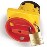 Площадка и ручка 67х67мм под замок на винты желтый/красный модель 1...4 AZ1001-1 ДКС