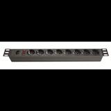 DKC Блок розеток для 19' шкафов, 8 розеток Schuko, выключатель R519SH8OPSHC14 ДКС