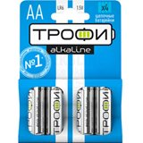 Элемент питания AA алкалин Трофи LR6-4BL (4 штуки в упаковке)