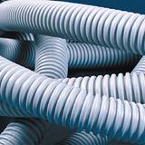 Труба гофрированная ПВХ  d32 гибкая лёгкая с протяжкой ( 25 м) серая ДКС