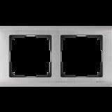 Рамка на 2 поста (глянцевый никель) / WL02-Frame-02_Metallic / a028860
