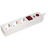 Фильтр сетевой СФ-03К 3-х местный 3х1мм2 16А 1,5м с выключателем, белый