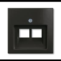 Плата центральная (накладка) для 2-постовой телекоммуникационной розетки 0214, 0215, 0217, 0218, с полем для надписи, серия Basic 55 цвет chateau-black 1753-0-0206 ABB