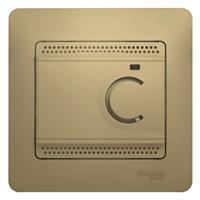 """Термостат электронный, для тепл. пола, 10А с датчиком, с рамкой """"Glossa"""" титан GSL000438"""