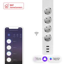 Умный удлинитель EKF Connect PRO Wi-Fi c USB (3 разъема, суммарно 3.1А), статистика, белый RCE-2-WF