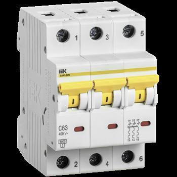 Выключатель автоматический модульный ВА47-60M 3п 50А 6кА х-ка C MVA31-3-050-C IEK