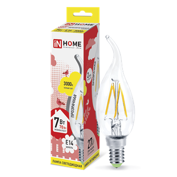 Лампа LED E14 7Вт 3000K 230V 630Лм CA37 прозр. INHOME