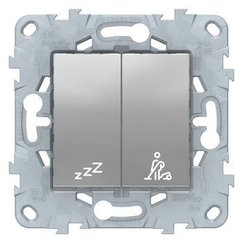 Выключатель кнопочный Не беспокоить/Убрать номер Unica New 10A алюминий