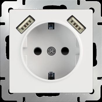 Розетка с з/к, шторками и USBх2 (белый) / WL01-SKGS-USBx2-IP20/ a033473