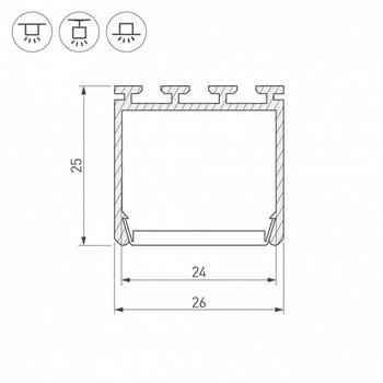 Фото Профиль для LED-ленты KLUS по выбору (аксессуары) квадратный 26мм 2м 016386шт Arlight изображение №4