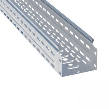 Фото Лоток перфорированный металлический 100х100х3000 0,7мм 24м светло-серый EKF