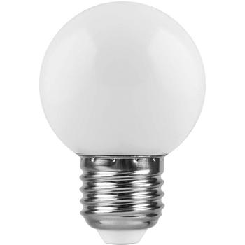 Лампа светодиодная LED E27 1Вт 6400K 80Lm 220В шар мат. Feron