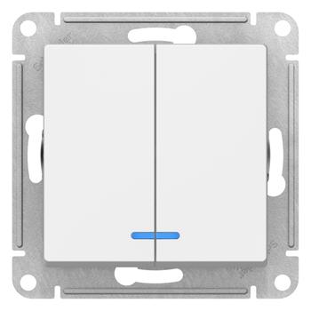Выключатель 2-х клавишный Atlas Design 10A Ag+ белый, с подсветкой Schneider Electric