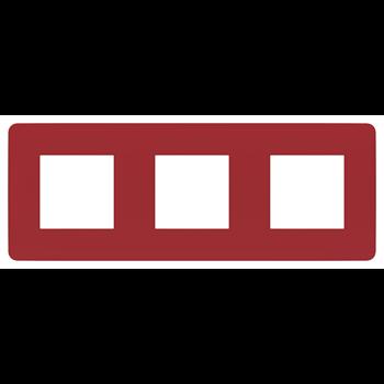 Рамка универсальная Unica Studio 3-х постовая красный/белый NU280613 Schneider Electric