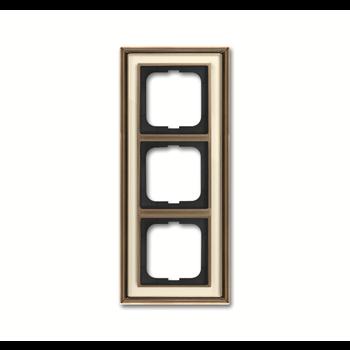 Рамка 3-постовая, серия Династия, Латунь античная, белое стекло 1754-0-4582 ABB