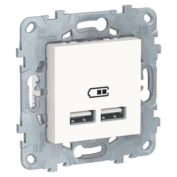 Розетка USB, 2-местная, 5 В / 2100 мА, Белый / UNICA NEW / NU541818