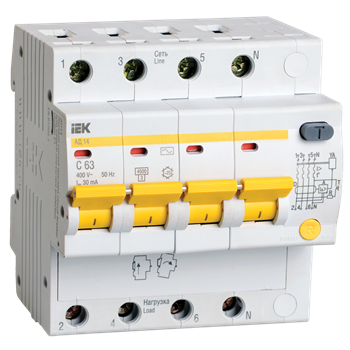 АВДТ АД14 4п 25А 30мА тип AC х-ка C 4,5кА MAD10-4-025-C-030 IEK