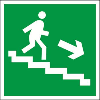 Фото Знак безопасности BL-3015A.E13 'Напр. к эвакуац. выходу по лестн. вниз прав. ' a12823 Белый свет