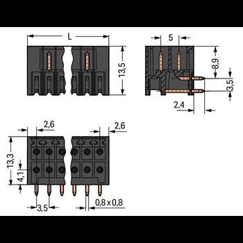 EINL-STIFTL. 16P. 90G 3,5MM SCHWARZ