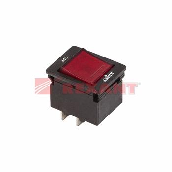 Выключатель - автомат клавишный 250V 10А 4с RESET-OFF красный с подсветкой IRS-2-R15 36-2620 REXANT