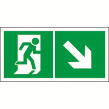 """Знак безопасности PP-40205.E36 """"Напр. к эвакуационному выходу направо вниз"""""""
