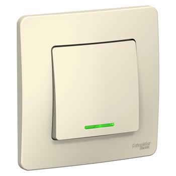 """Выключатель 1-кл с/у (cх.1) с подсв., 10А, 250B, """"Blanca"""" молочный BLNVS010112"""