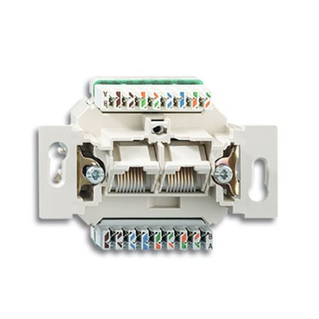 Фото Механизм 2-постовой компьютерной/телефонной розетки UAE, 8/8 полюсов, раздельно, RJ45, категория 6е, неэкранированная, до 250 МГц 0230-0-0470