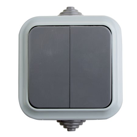 Фото Выключатель двухклавишный влагозащищенный открытой установки IP 54, 10А