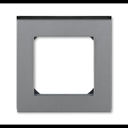 Фото Рамка 1-постовая Levit сталь/дымчатый чёрный