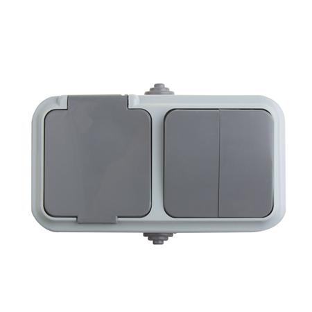Фото Выключатель Выключатель двухклавишный + розетка влагозащищенная для IP54 10 А ро