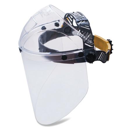 Фото Щиток защитный лицевой НБТ2 Визион Titan, экран из поликарбоната 220х385 мм, толщиной 2мм, ударопрочный козырек, наголовное крепление, 424390