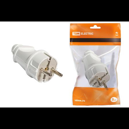 Фото Вилка кабельная 16А 250В белая, прямая SQ1806-0003 TDM