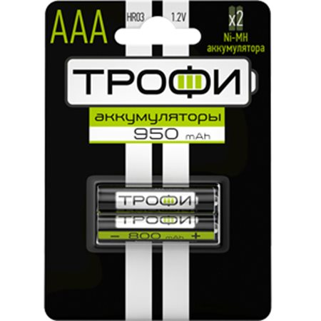 Фото Аккумуляторная батарея AAA Трофи 950 mAh HR03-2BL (2 штуки в упаковке)