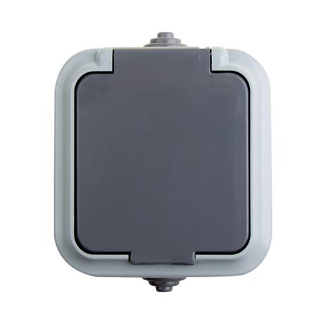 Фото Розетка штепсельная с заземляющим контактом влагозащищенная для открытой установки IP 54