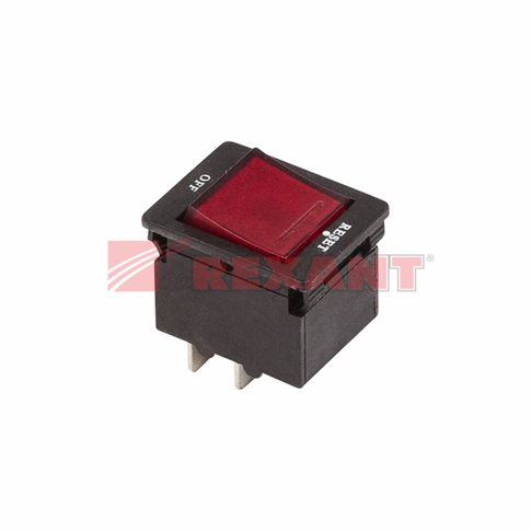 Выключатель - автомат клавишный 250V 10А (4с) RESET-OFF красный с подсветкой (IRS-2-R15) REXANT
