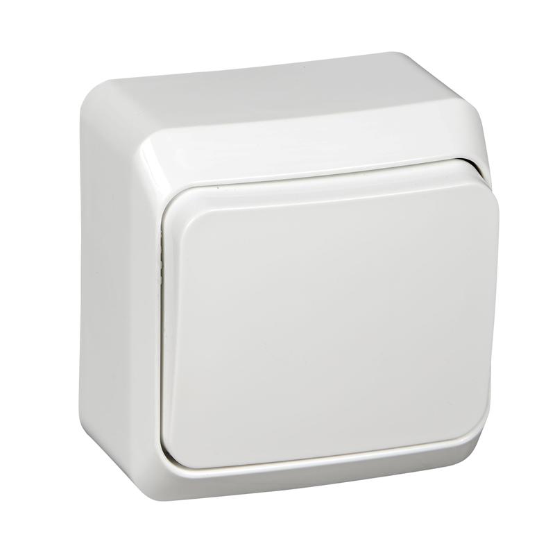 Выключатель одноклавишный о/п 10А с монт. пластиной, Этюд, белый ВА10-001b